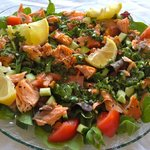 Hot smoked salmon salad - yum!