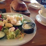 It begins with a tropical salad and clam chowder-so good!