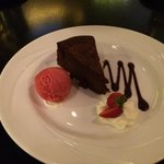 Flourless chocolate cake in La Provence restaurant. Good dessert.