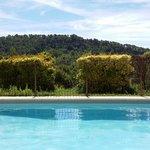 Vue depuis mon lit-soleil, au bord de la piscine.