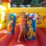 Bouncy castle fun by the pool