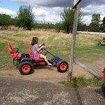 enjoying the go karts at farmer palmers