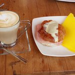 Cafe latte + Ham and cheese croissant.