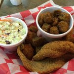 3 piece catfish, slaw, hushpuppies and fried okra