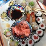 The sushi: ebi tempura and tuna maki