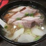 Egg noodle soup with roast pork