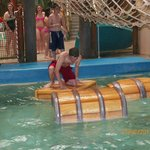 Fun on the barrels inside Castaway Bay