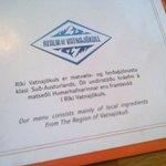 detalle de la carta, donde se especifica que los ingredientes del menú son productos de la zona