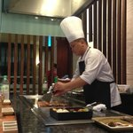 Japanese restaurant chef cooking