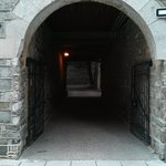 Historic and beautiful tunnel leading to back of hotel and patio