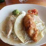 Fish tacos.  One beer battered and one grilled