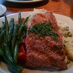 Cedar Plank Salmon with green beans and mashed potatoes