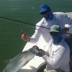 My dad's first tarpon .. And got it on the fly !