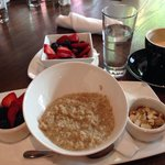 Steel-cut Oats with a side of fruit and a decaf caramel latte.