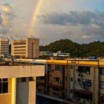 Rainbow over Kota Kinabalu - view from the hotel, the street markets are in this area