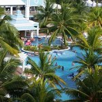 View of the pool from our balcony.