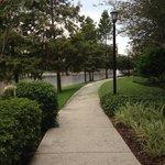 walking along the pathway around resort
