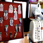 Pendants, bracelets and rings by Juanita and Mario using local stones and crystals.