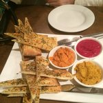 Trio of Dips w Woodfired Flat Bread - $15.50