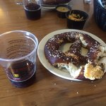 Tasty Bavarian pretzels with cheese and mustard dips.  I could eat the cheese dip with a spoon i