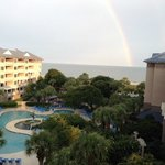 View of the Dolphin pool and Atlantic from our balcony -following the afternoon shower a rainbow