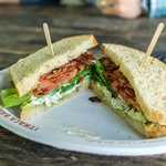 the CTBLT, layered with bacon, tomato, avocado and lettuce