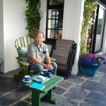 enjoying a snack on the veranda