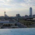 Dallas skyline over the pool
