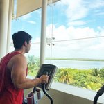 The gym with the view of the lagoon