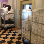 The entrance to our room. Not sure why all the linen carts were parked here.