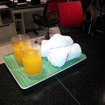 Welcome drink n towel
