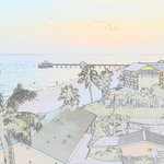 Electronic watercolor of the beach and fishing pier.