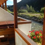 This is the view of the 2-person hot-tub & river from our room deck - great!