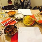 Aubergine curry, butter chickend, pilau and normal rice and classic naan!!! Passage 2 india rock
