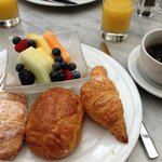Breakfast, good selection of fruit and pastries