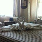 Swan-shaped towels
