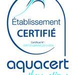 Certification Aquacert démontrant l'attention extrême portée à la qualité sanitaire de l'eau