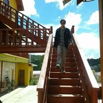 Escaleras por fuera de las cabañas