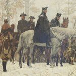 1883 painting of Washington reviewing the troops