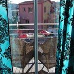 Balcony facing the pools