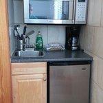Fridge, microwave and sink