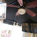 ceiling of cabana--fan, tv, heater