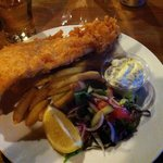 Adult portion of fish and chips with homemade tartar sauce.