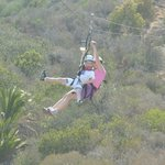 My son and I tandem ziplining