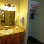 vanity area next to the bathroom