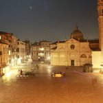 View from front hotel balcony of the quaint little piazza