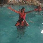 enjoying the warm pool
