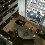 view of the lobby from the elevator