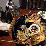 Mix of seafood, octopus, half lobster, mussels, shells, calamari, fresh fish, prawn... Just won