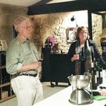 Wine tasting with Sylvie Dulong, right